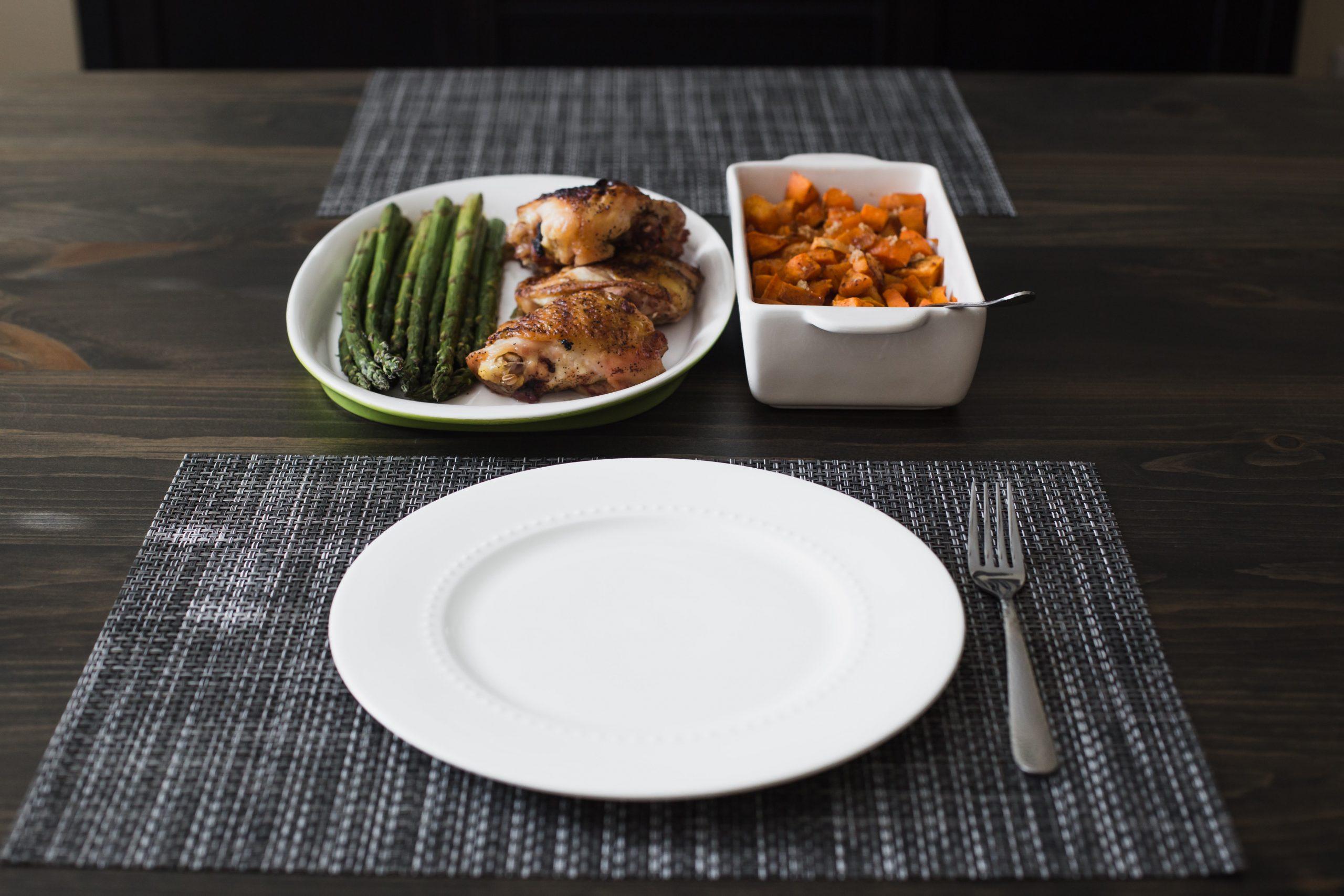 Teller, Gabel und Essen